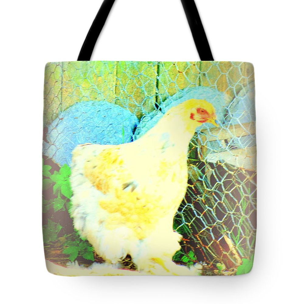 Horse Tote Bag featuring the photograph A Wet Hen In Its Own Little Paradise by Hilde Widerberg