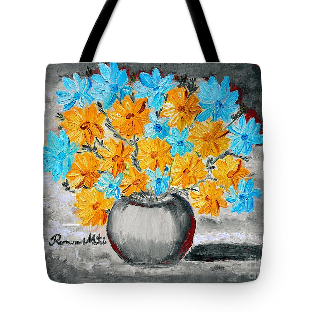 Daisies Tote Bag featuring the painting A Whole Bunch Of Daisies Selective Color II by Ramona Matei
