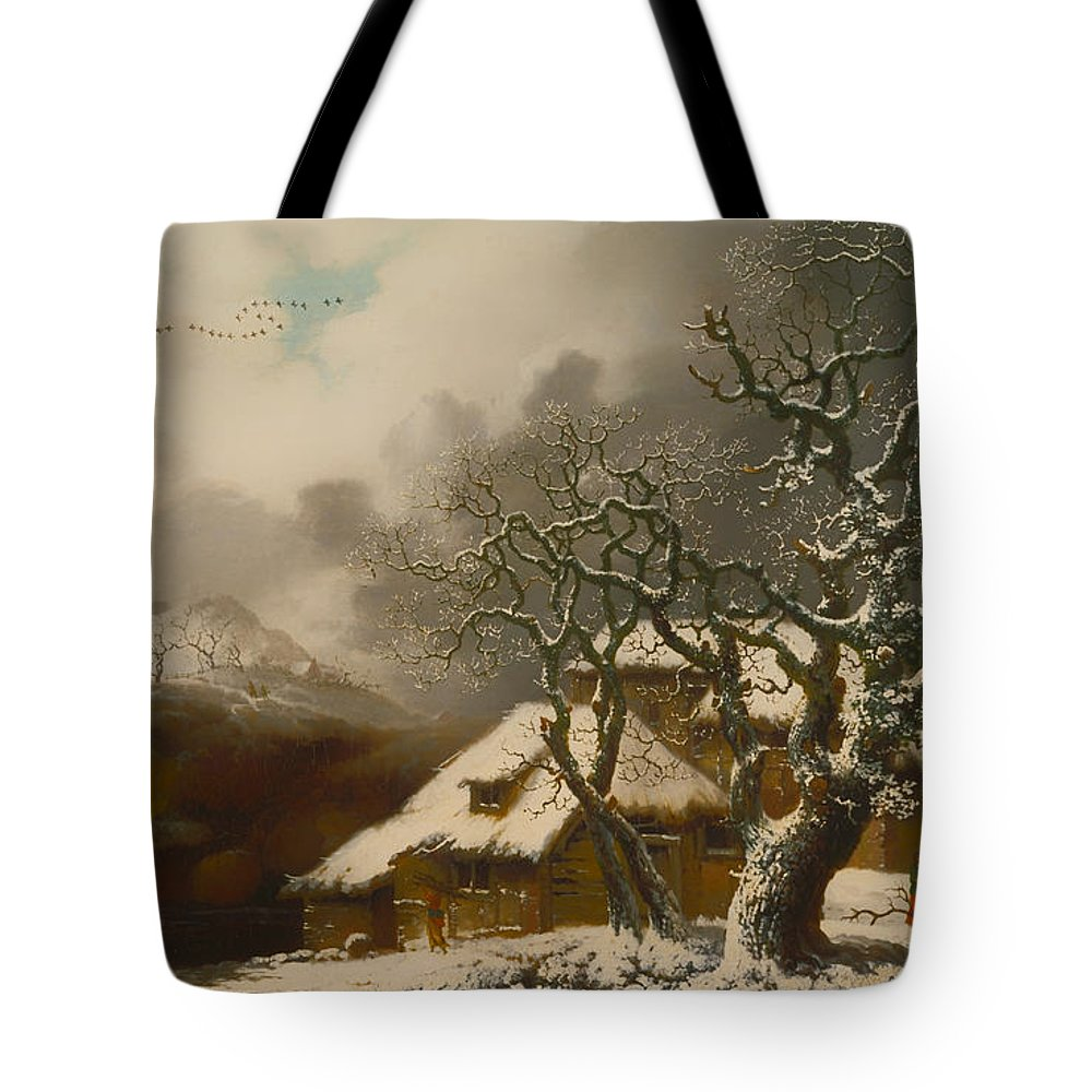 Painting Tote Bag featuring the painting A Winter Landscape by Mountain Dreams