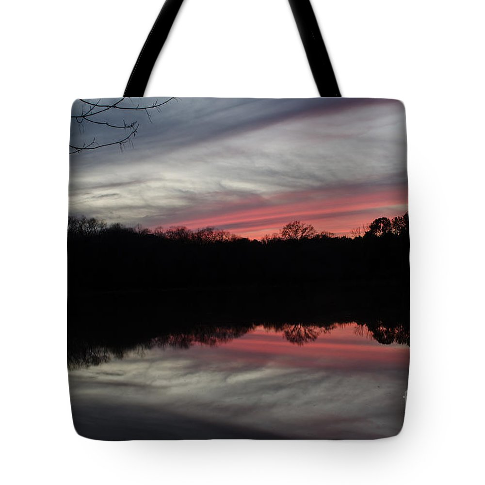 Sunset Tote Bag featuring the photograph A Christmas Winter Sunset by Donna Brown