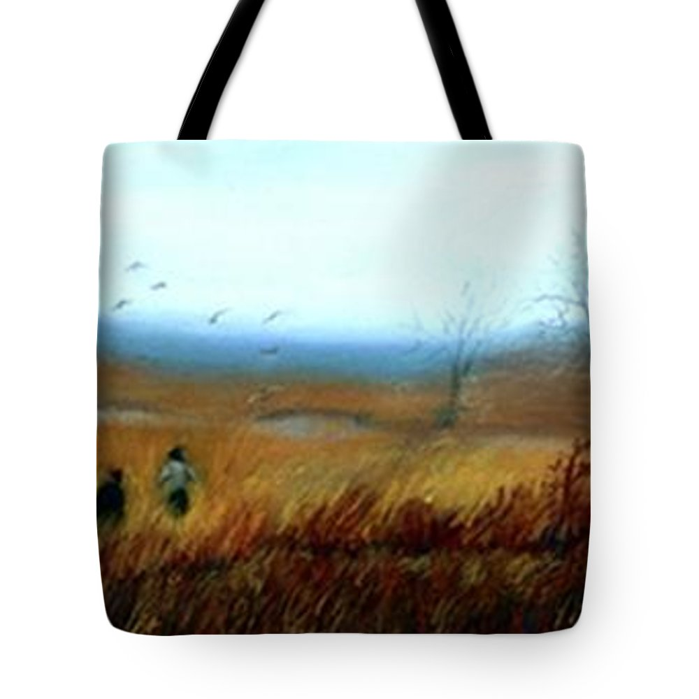 Figures Tote Bag featuring the painting A Winter Walk by Gail Kirtz