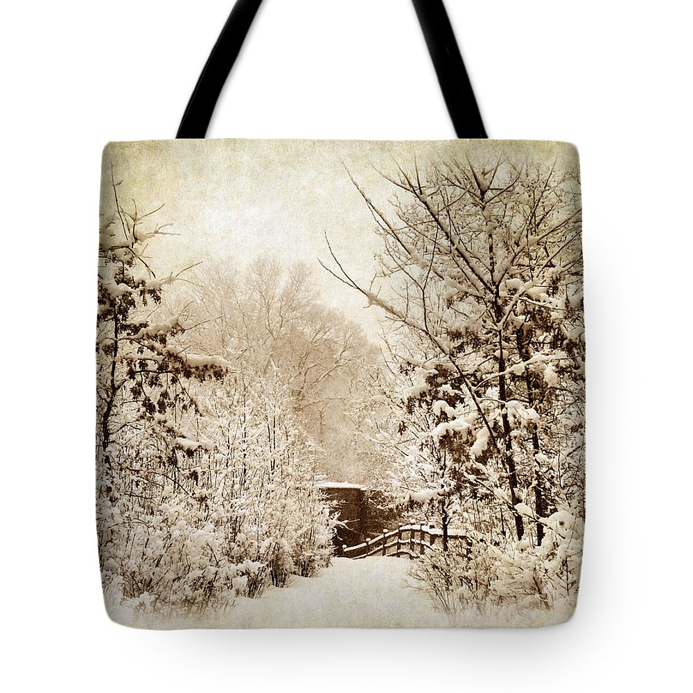 Winter Tote Bag featuring the photograph A Winter's Path by Jessica Jenney