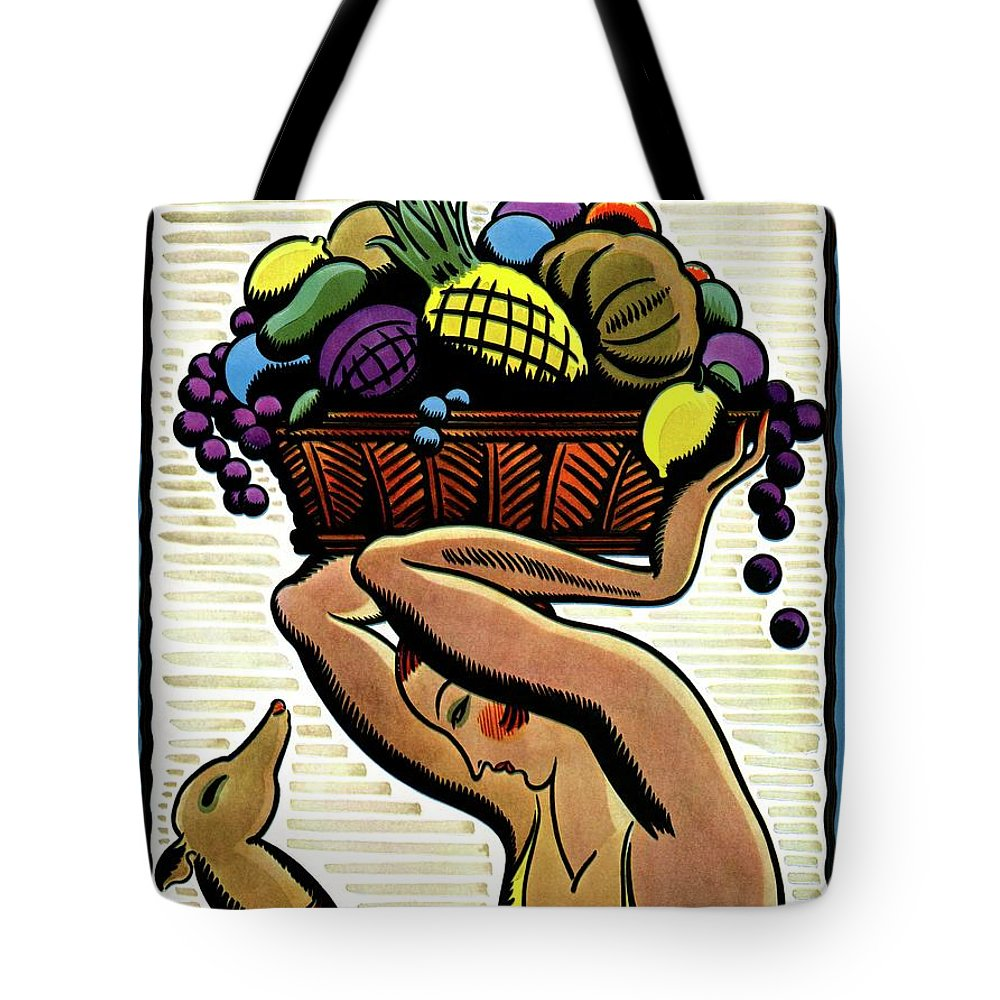 House And Garden Tote Bag featuring the photograph A Woman Holding A Basket Of Fruit by Marion Wildman