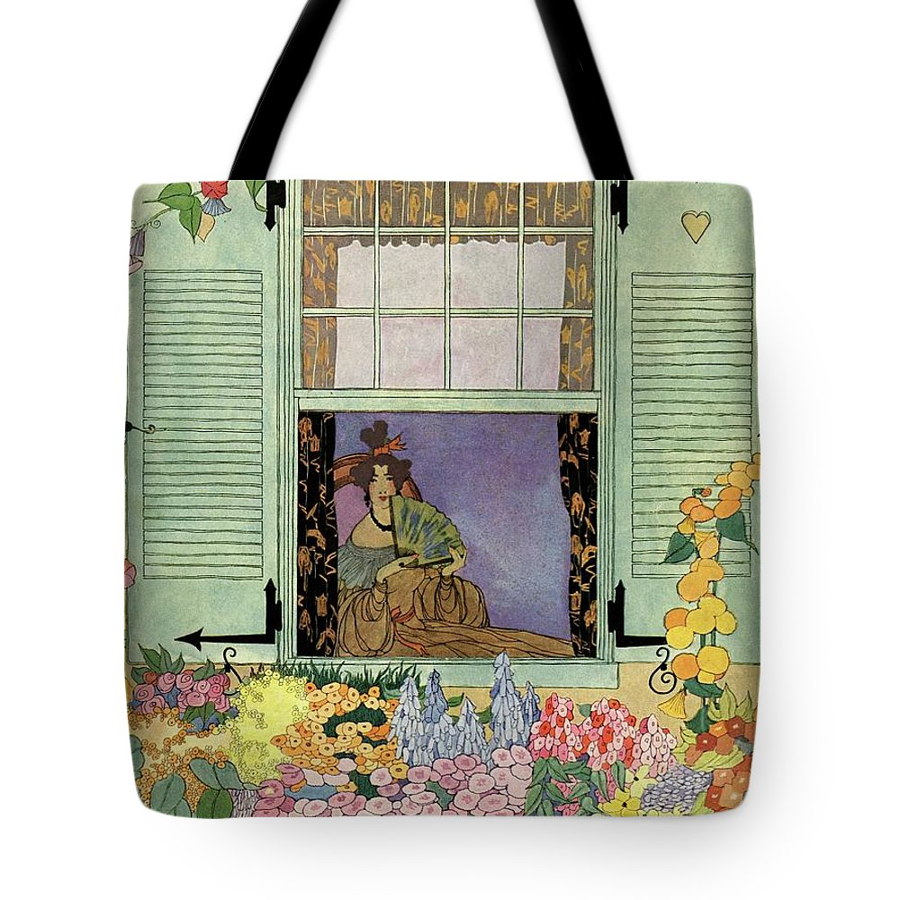 House And Garden Tote Bag featuring the photograph A Woman With A Fan by Helen Dryden