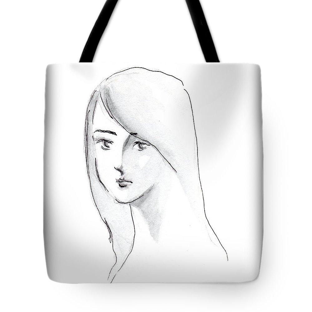 A Woman With Black Long Hair Drawing Tote Bag featuring the drawing A Woman With Long Hair by Jingfen Hwu