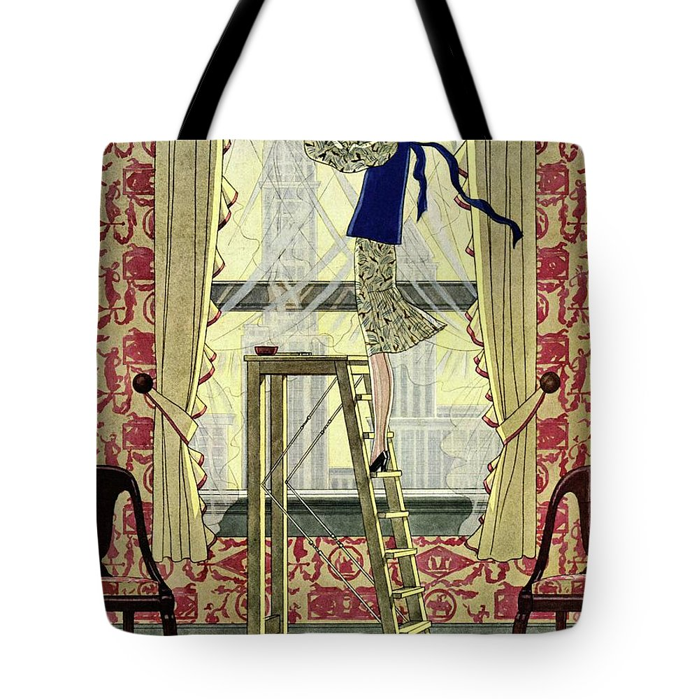 House And Garden Tote Bag featuring the photograph A Young Matron Adjusting Curtains by Pierre Mourgue