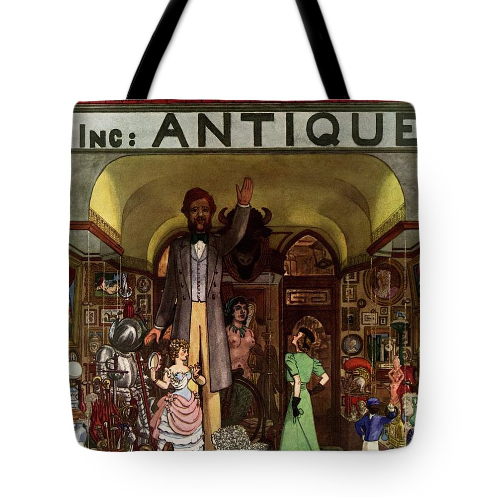 House And Garden Tote Bag featuring the photograph A Young Matron In Front Of A Antique Store by Pierre Brissaud