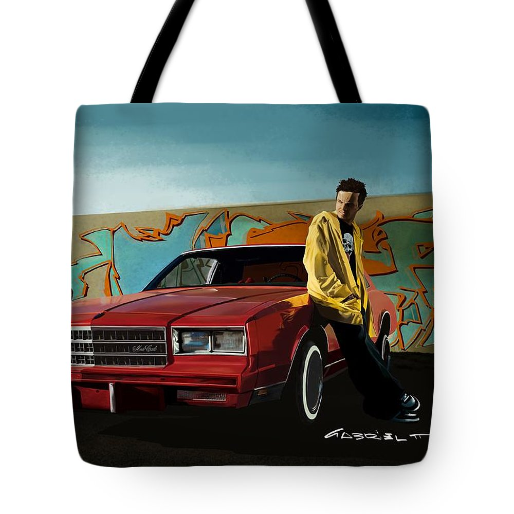 Aaron Paul Tote Bag featuring the digital art Aaron Paul as Jesse Pinkman @ TV serie Breaking Bad by Gabriel T Toro