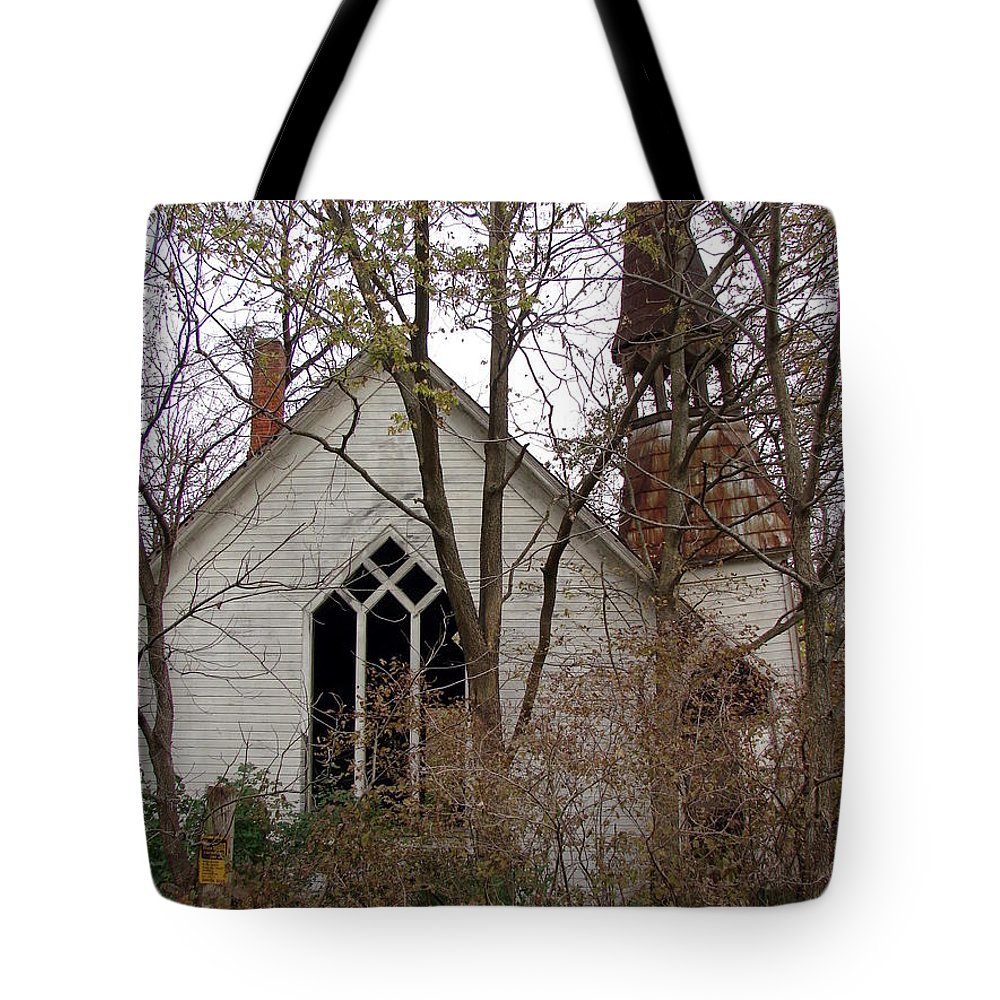 Rural Tote Bag featuring the photograph Abandoned Church by Cassie Peters
