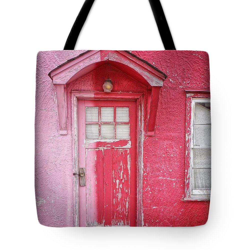 Built Structure Tote Bag featuring the photograph Abandoned Pink And Red House by Stan Strange / Eyeem