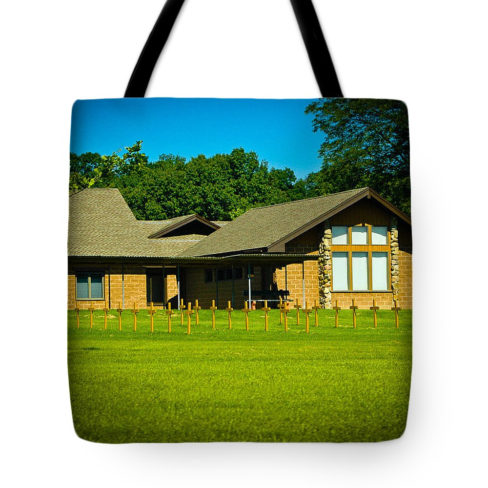 Cistercians Tote Bag featuring the photograph Abbey Of The Genesee by Rhonda Barrett
