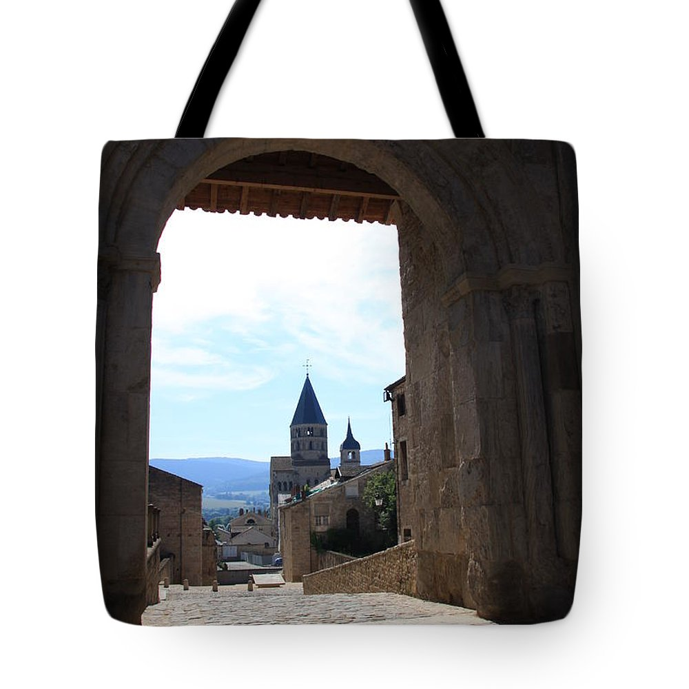 Church Tote Bag featuring the photograph Abbey Through Doorway - Cluny by Christiane Schulze Art And Photography