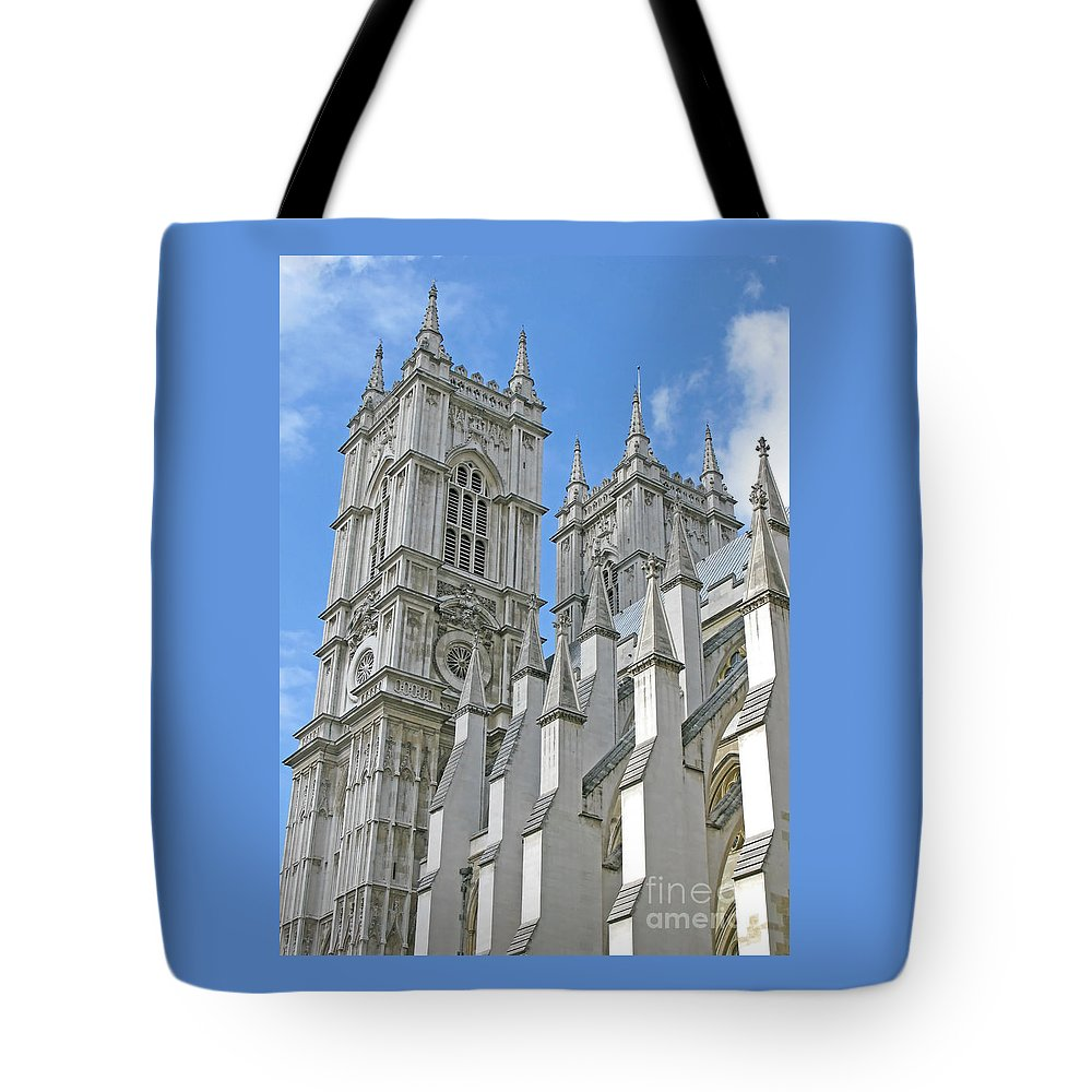 London Tote Bag featuring the photograph Abbey Towers by Ann Horn