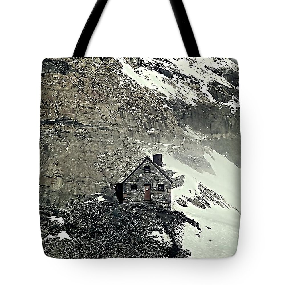 Canadian Rockies Tote Bag featuring the photograph Abbot's Hut 2 by Steve Harrington