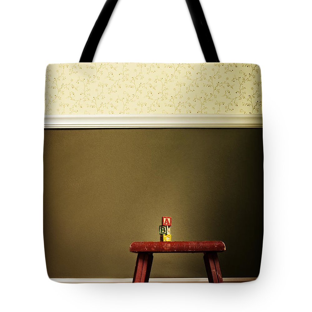 Stool; Step; Red; Blocks; Abc; Spelling; Words; Tower; Built; Toys; Play; Child; Children; Wall; Wallpaper; Floor; Wood; Vintage; Still Life Tote Bag featuring the photograph Abc's by Margie Hurwich