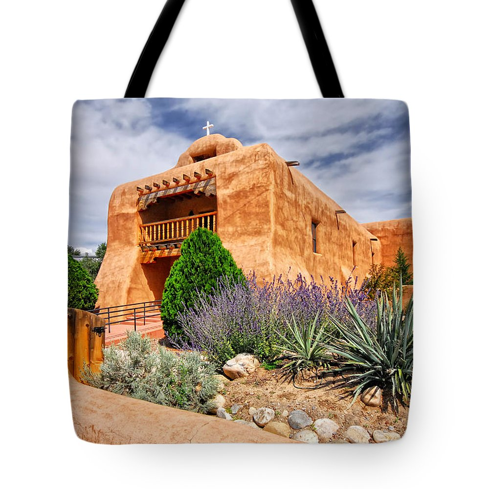 Abandoned Tote Bag featuring the photograph Abiquiu Mission Church by Ghostwinds Photography