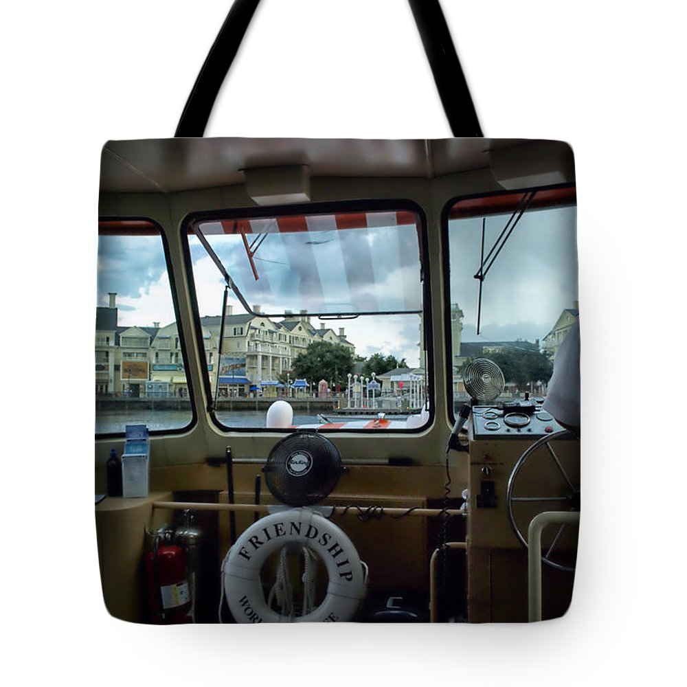 Broad Walk Tote Bag featuring the photograph Aboard Friendship And Approaching The Boardwalk At Walt Disney World by Thomas Woolworth