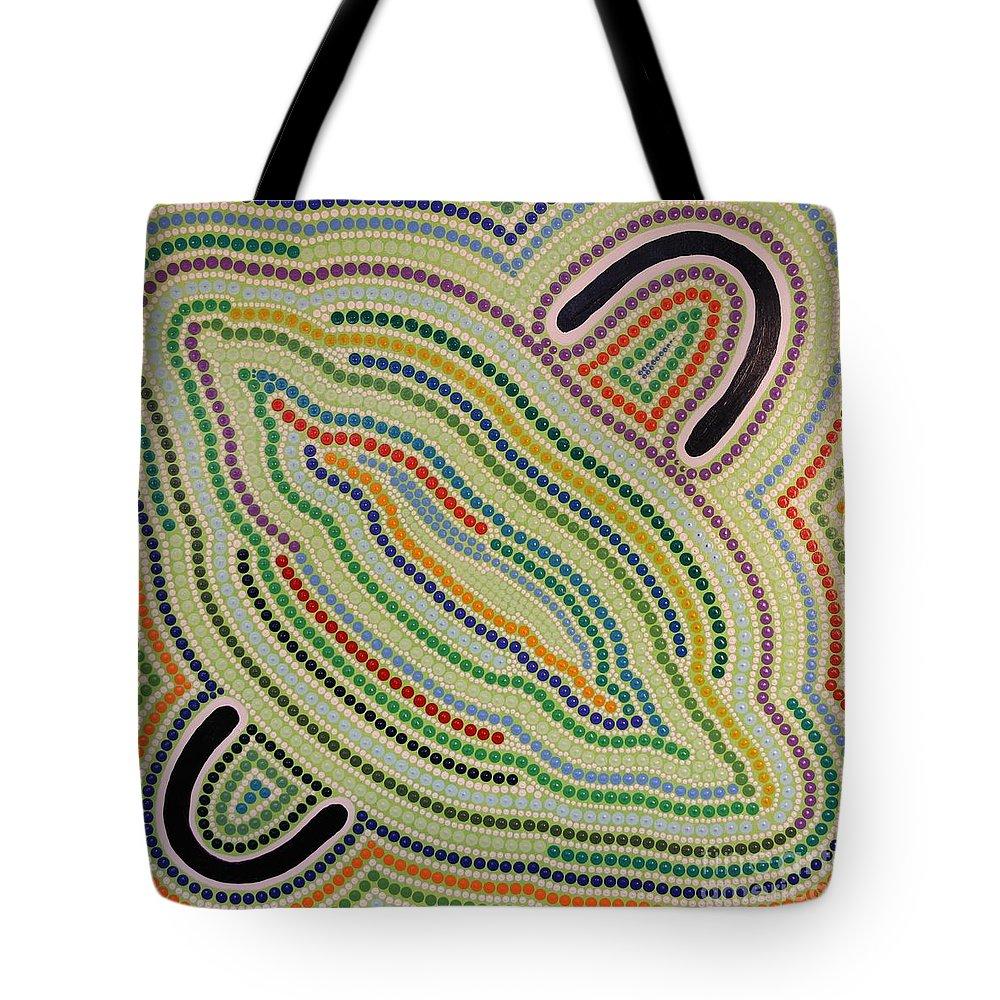 Art Tote Bag featuring the painting Aboriginal Inspirations 17 by Mariusz Czajkowski