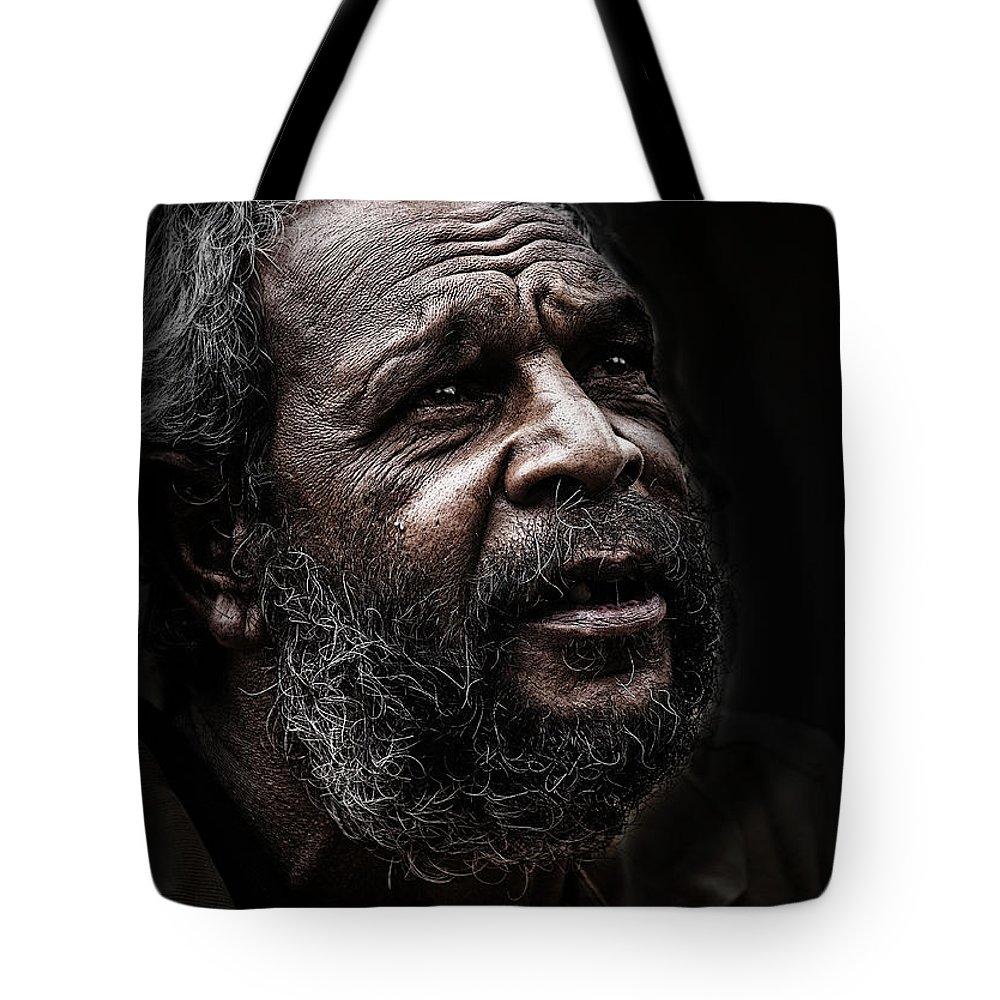 Australian Aboriginal Man Tote Bag featuring the photograph Aboriginal man by Sheila Smart Fine Art Photography