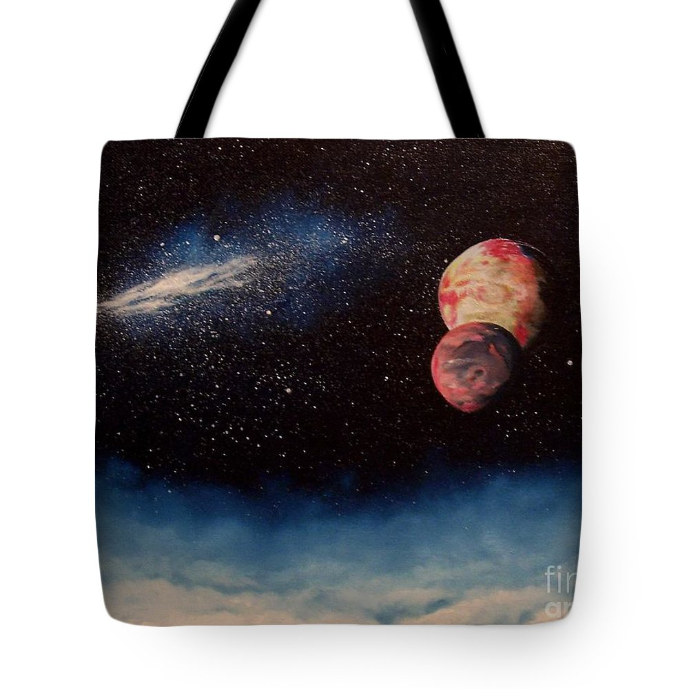 Landscape Tote Bag featuring the painting Above Alien Clouds by Murphy Elliott