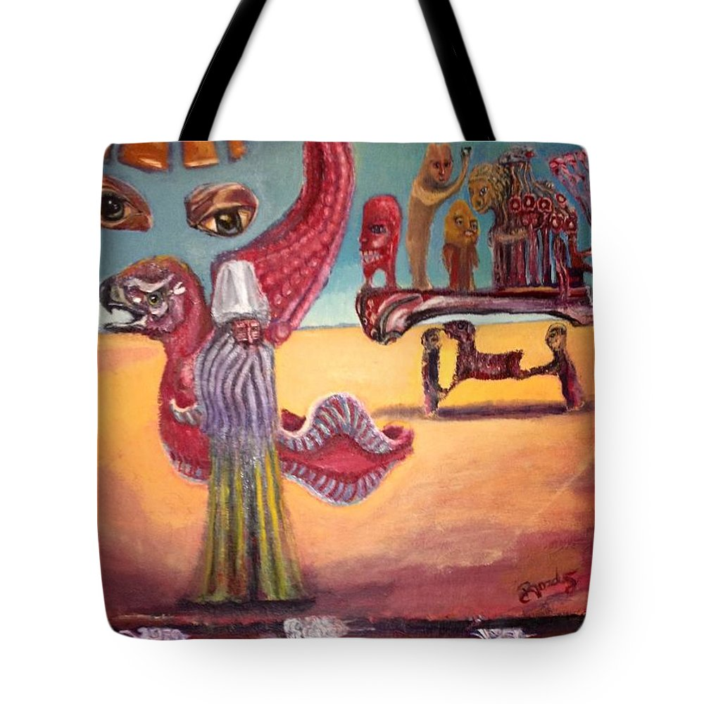 Surrealism Tote Bag featuring the painting Above And Beyond by Oguzhan Bozdag