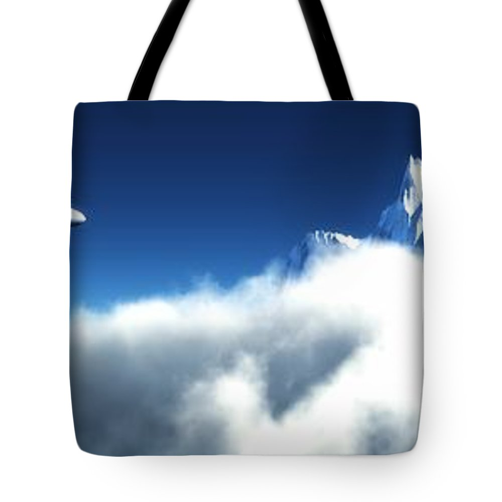 Realism Tote Bag featuring the digital art Above The Clouds... by Tim Fillingim