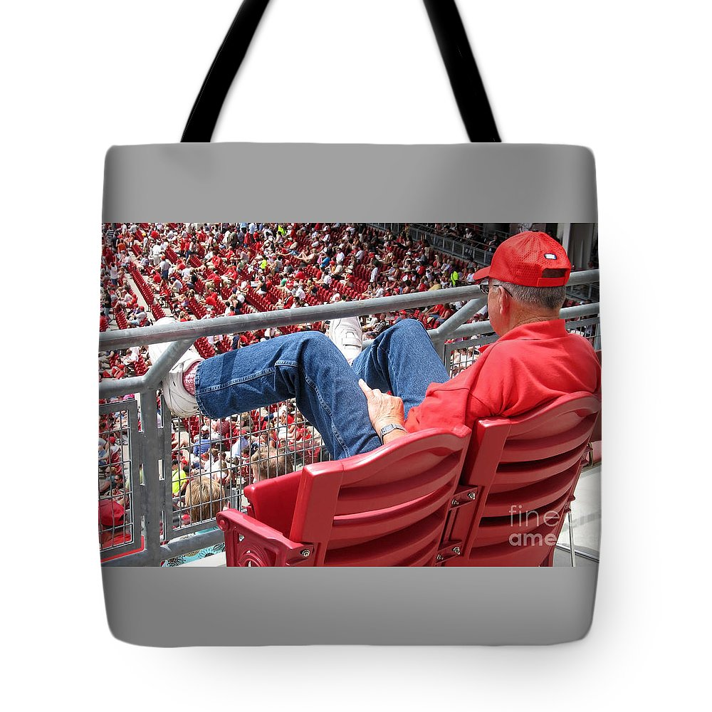 Baseball Tote Bag featuring the photograph Above The Crowd by Ann Horn