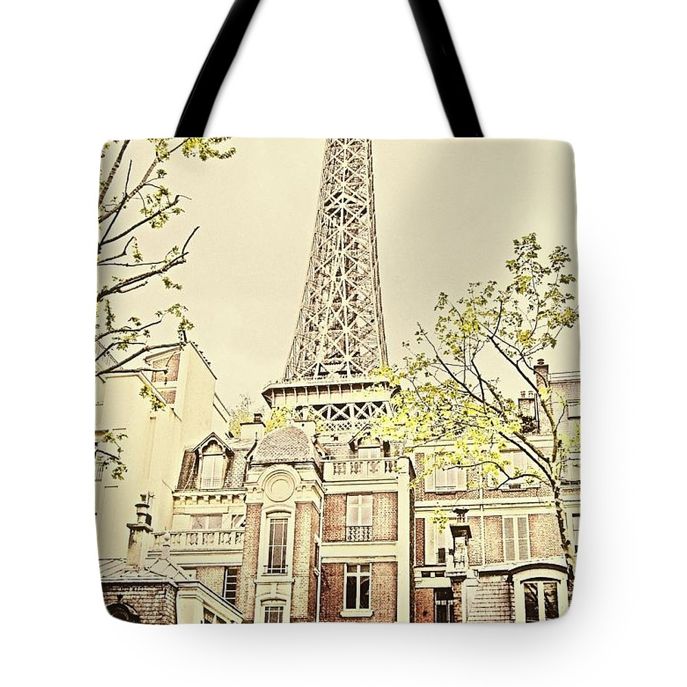 Eiffel Tower Tote Bag featuring the photograph Above The Rooftops by Jenny Hudson