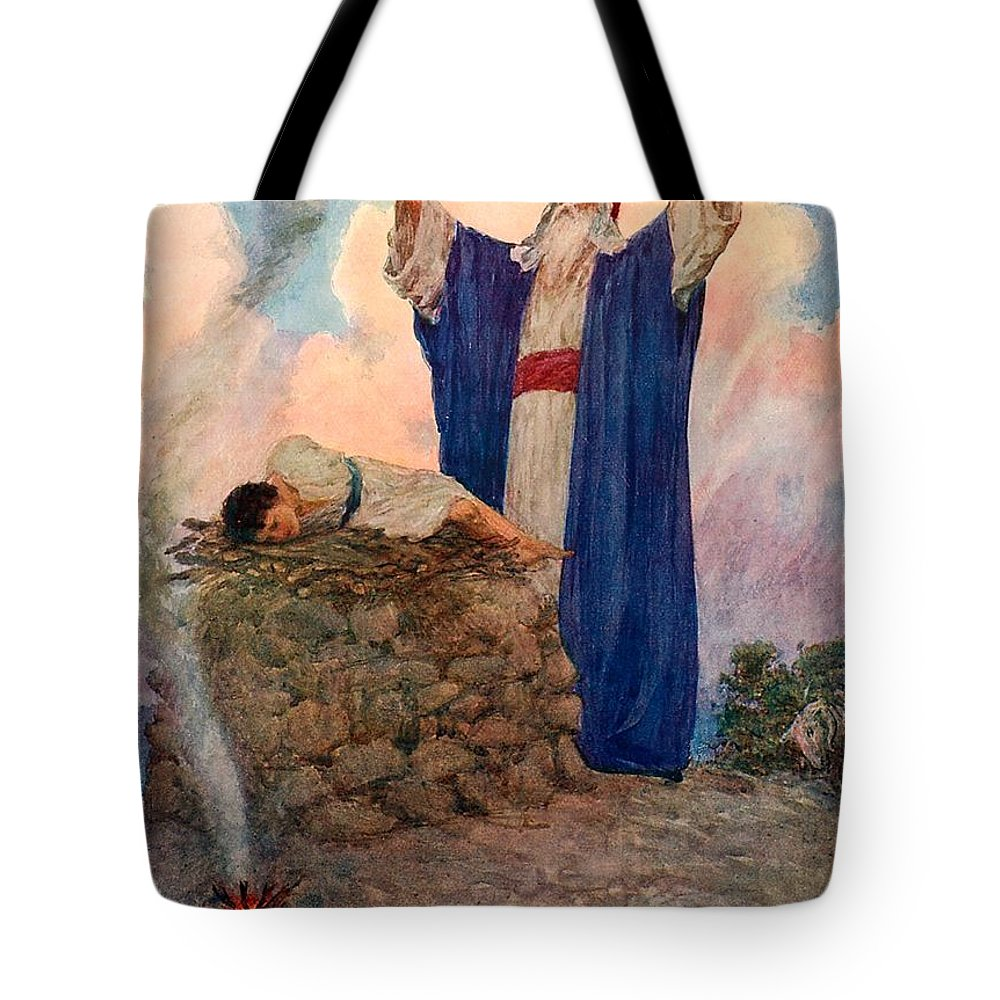 Bible; Abraham; Isaac; Mount Moriah; Sacrifice Tote Bag featuring the painting Abraham And Isaac On Mount Moriah by William Henry Margetson