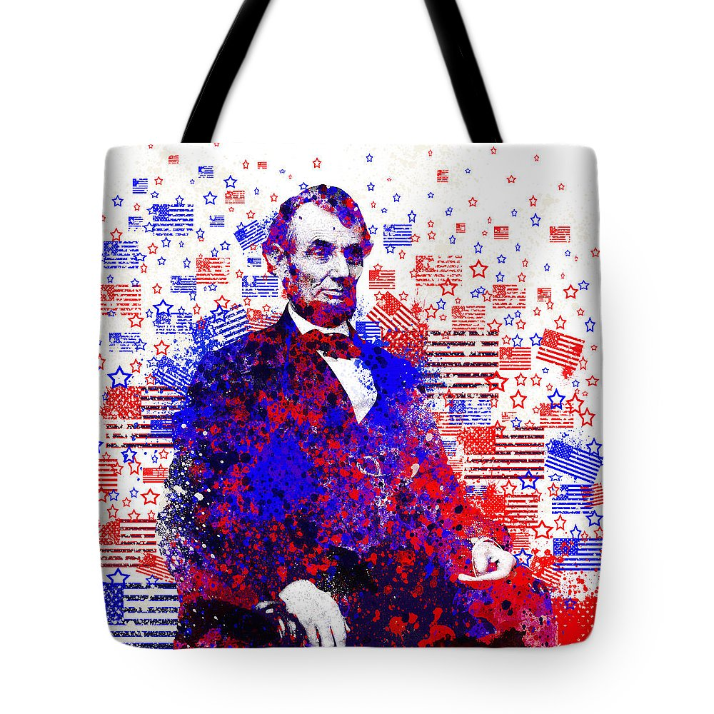 Abraham Lincoln Tote Bag featuring the painting Abraham Lincoln With Flags 2 by Bekim M