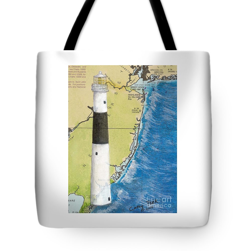 Absecon Tote Bag featuring the painting Absecon Lighthouse Nj Nautical Chart Map Art Cathy Peek by Cathy Peek