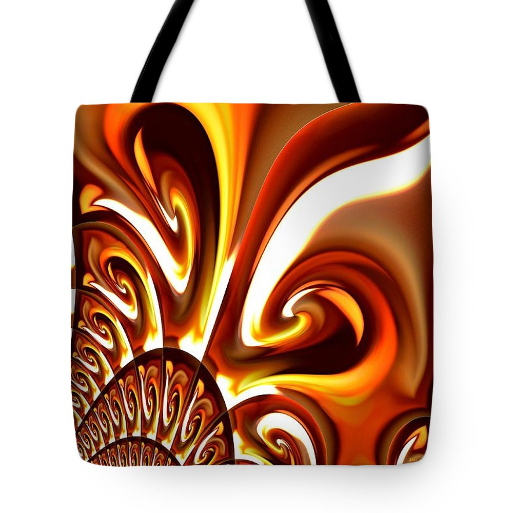 Flame Tote Bag featuring the digital art Abstract 235 by Maria Urso