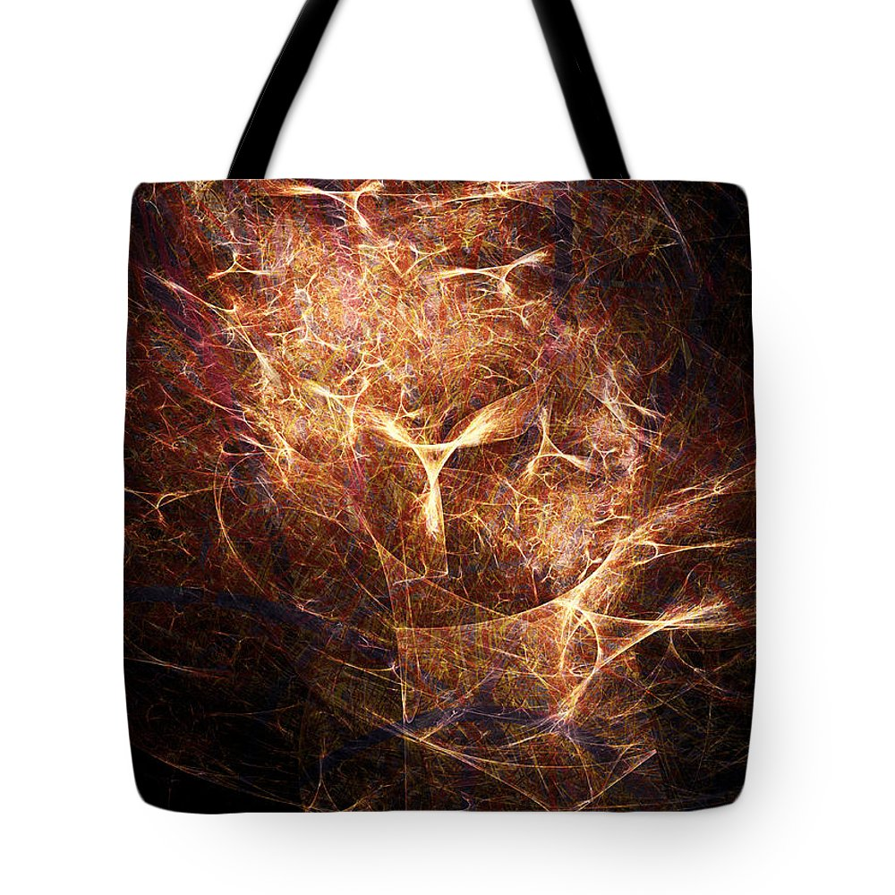 Abstract Tote Bag featuring the digital art Abstract Angels Burning Sepia by Russell Kightley