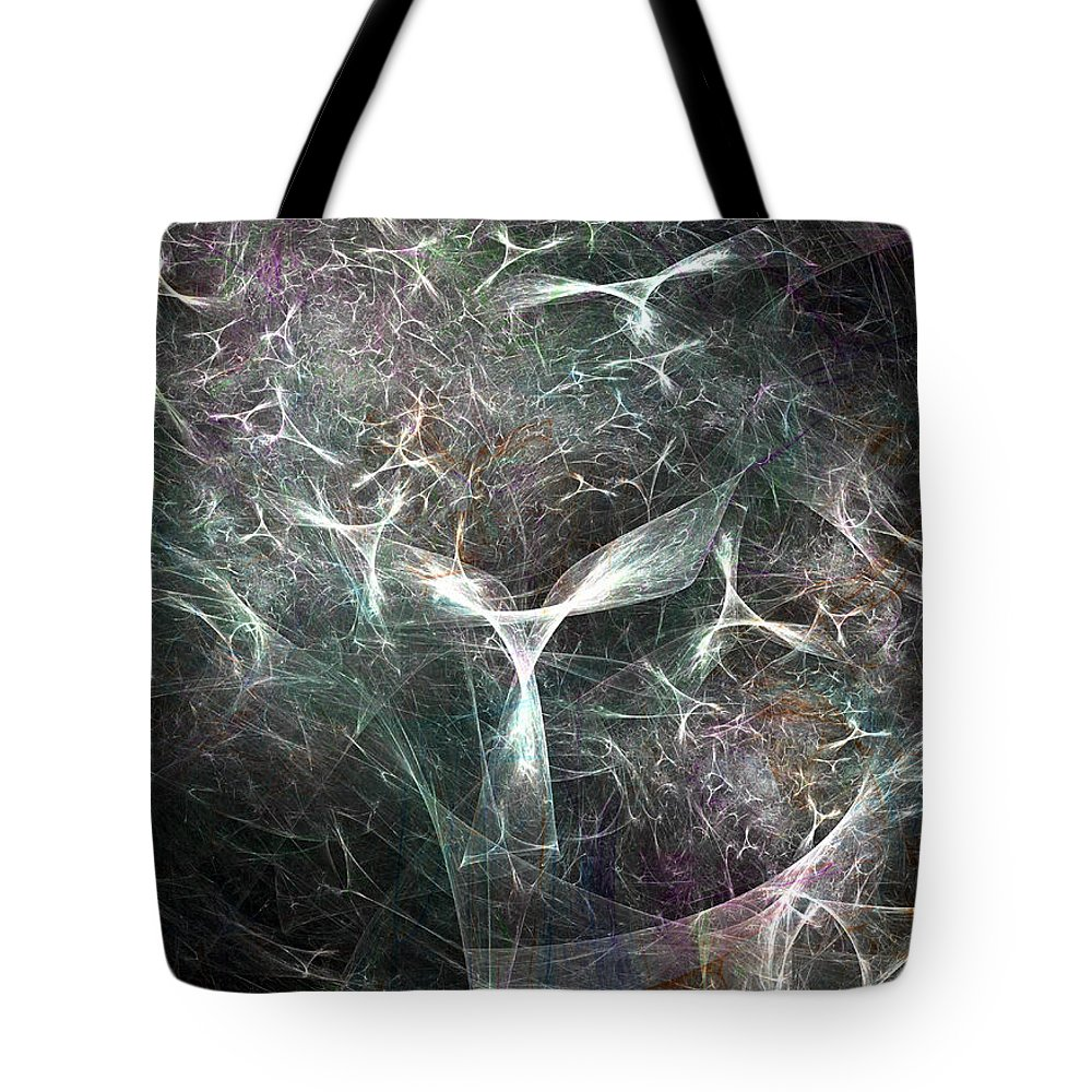 Abstract Tote Bag featuring the digital art Abstract Angels White Portrait by Russell Kightley