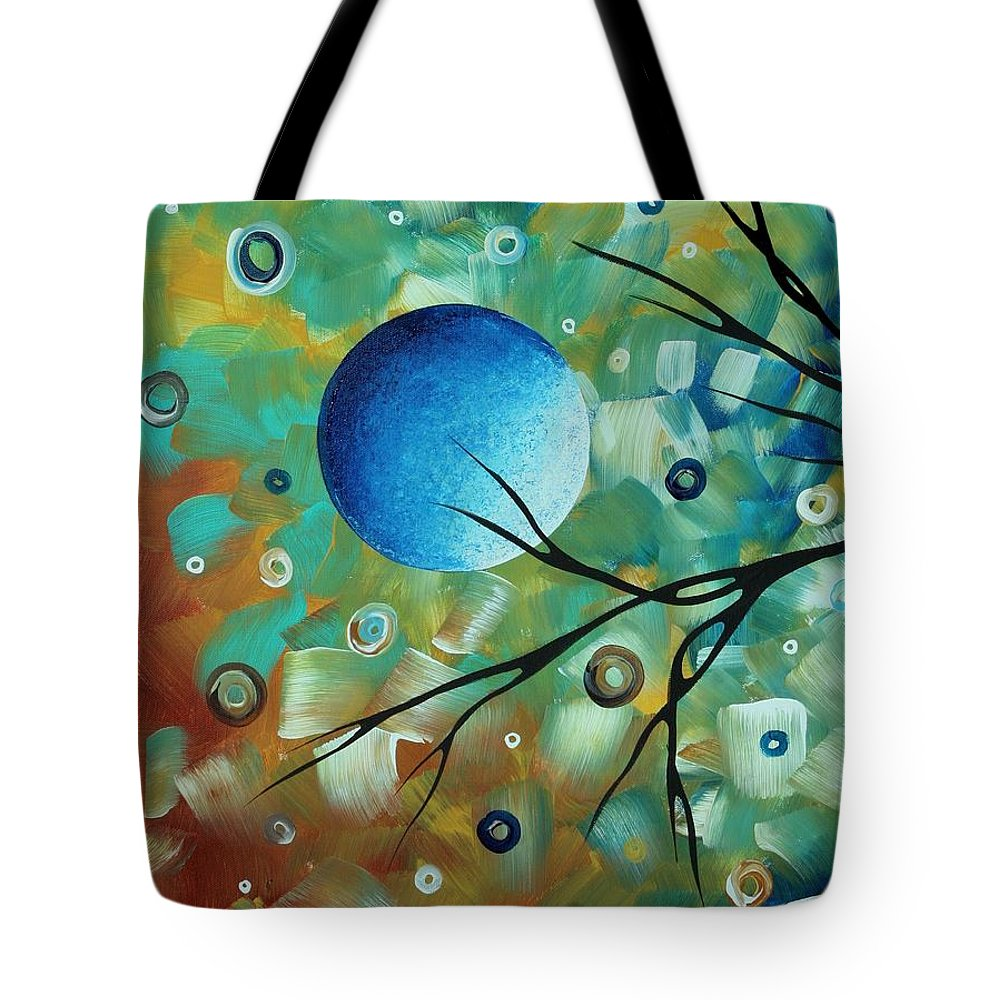 Abstract Tote Bag featuring the painting Abstract Art Original Landscape Painting Colorful Circles Morning Blues I By Madart by Megan Duncanson
