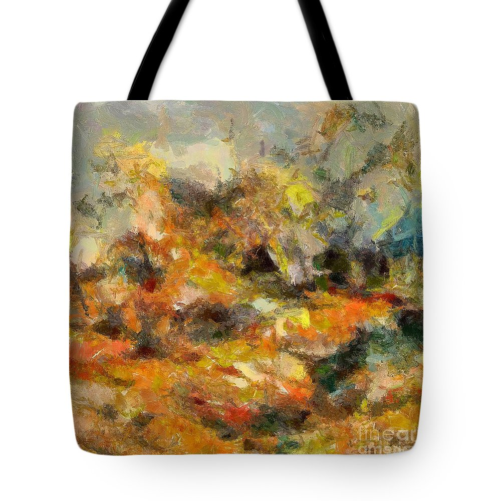 Abstract Autumn Tote Bag featuring the painting Abstract Autumn 2 by Dragica Micki Fortuna