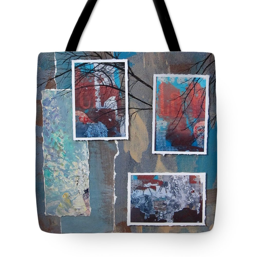 Abstract Tote Bag featuring the mixed media Abstract Branch Collage Trio by Anita Burgermeister
