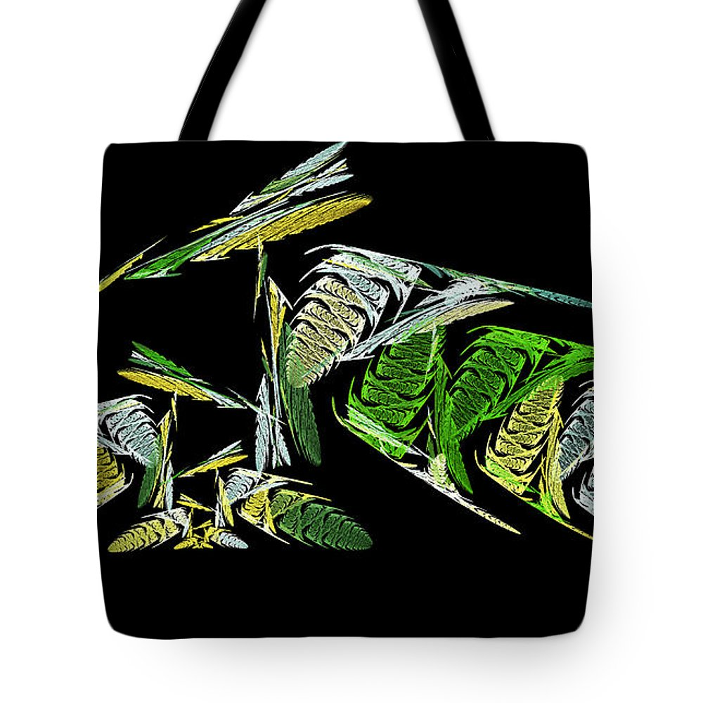 Abstract Tote Bag featuring the digital art Abstract Bugs Life Horizontal by Andee Design