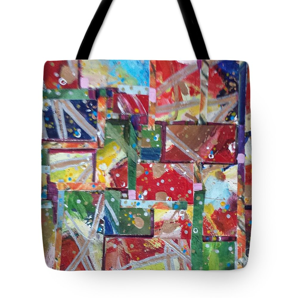 Abstract Tote Bag featuring the painting Abstract Collages 1 by Sherry Harradence