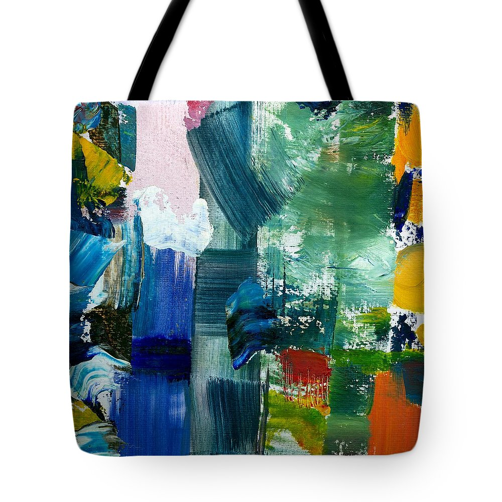 Abstract Collage Tote Bag featuring the painting Abstract Color Relationships Lll by Michelle Calkins