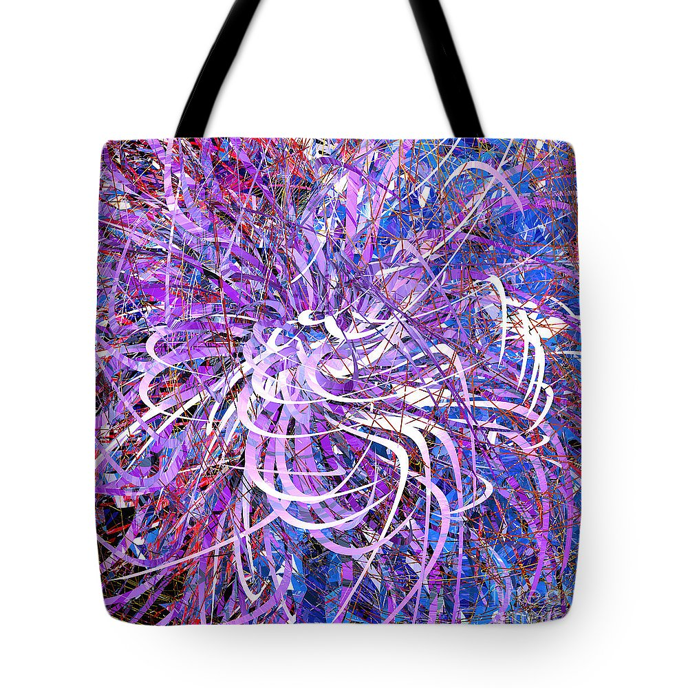 Abstract Tote Bag featuring the digital art Abstract Curvy 32 by Russell Kightley