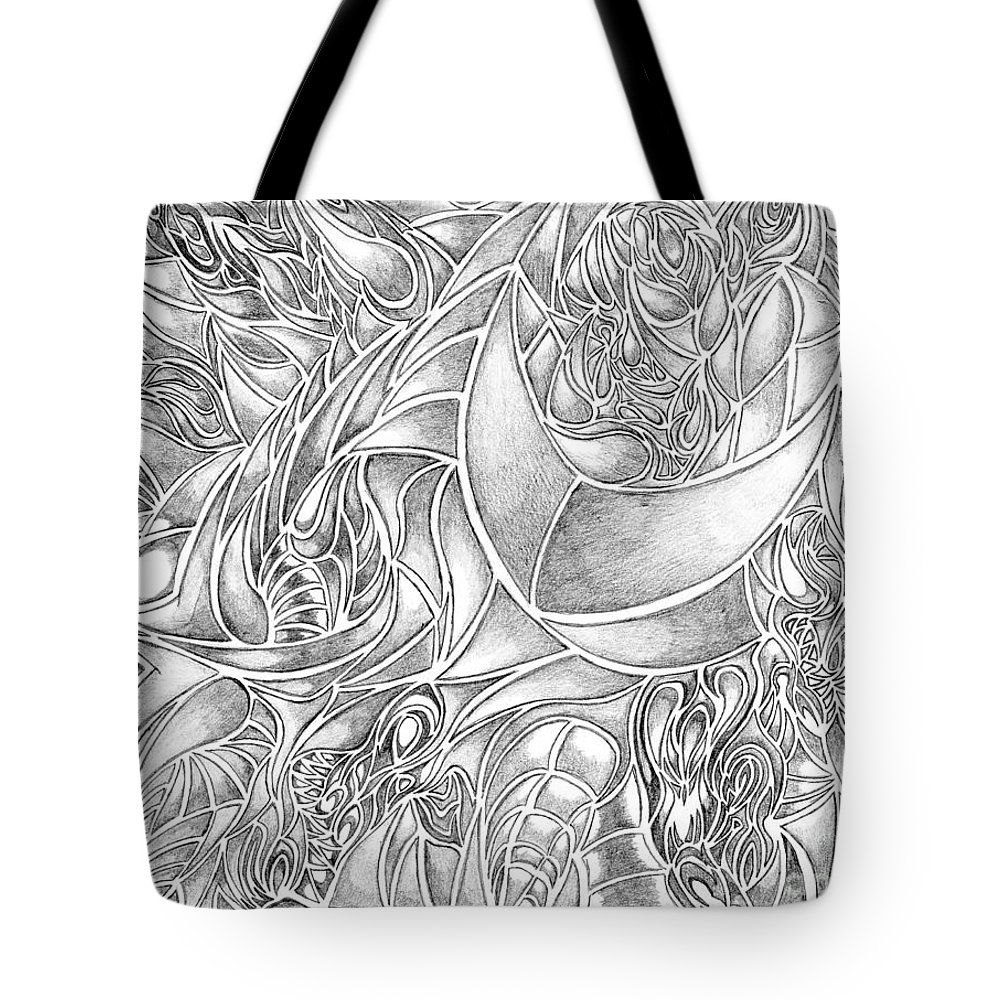 Tote bag drawing - Abstract Tote Bag Featuring The Drawing Abstract Drawing In Pencil What Do You See Series By