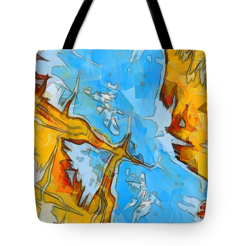Abstract Tote Bag featuring the painting Abstract Elements by Pixel Chimp