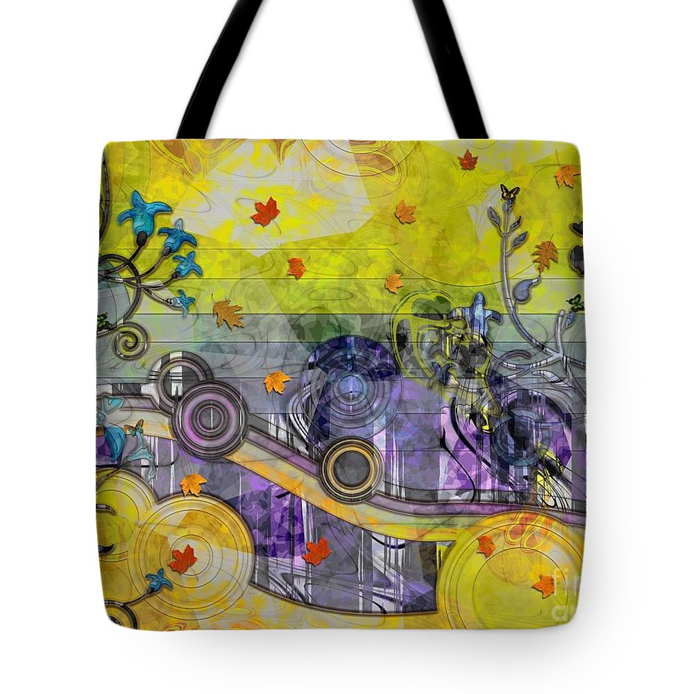 Abstract Tote Bag featuring the mixed media Abstract - Falling Leaves by Liane Wright