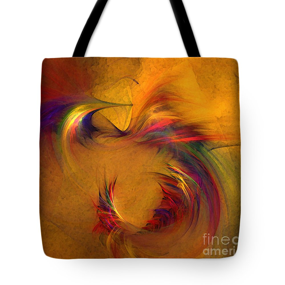 Abstract Tote Bag featuring the digital art Abstract Fine Art Print High Spirits by Karin Kuhlmann