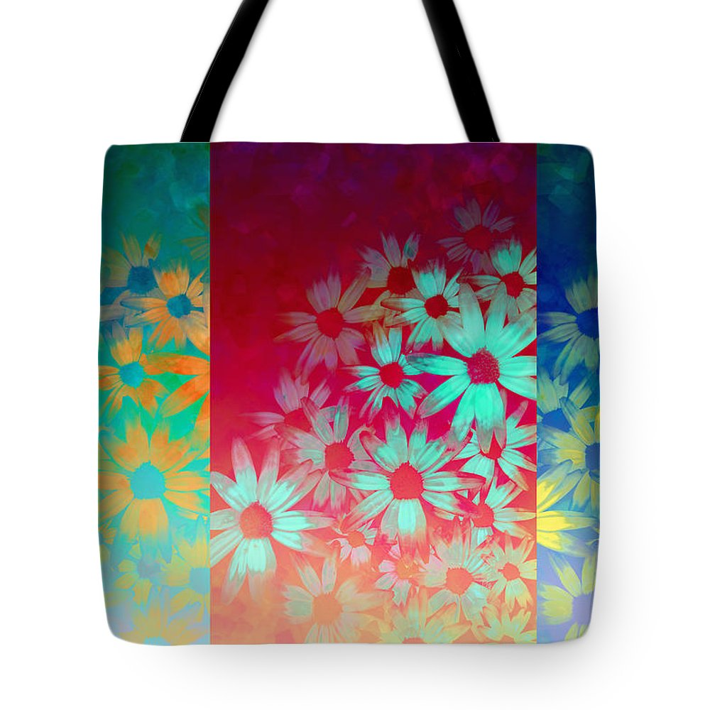 Flower Tote Bag featuring the painting abstract - flowers- Summer Joy by Ann Powell
