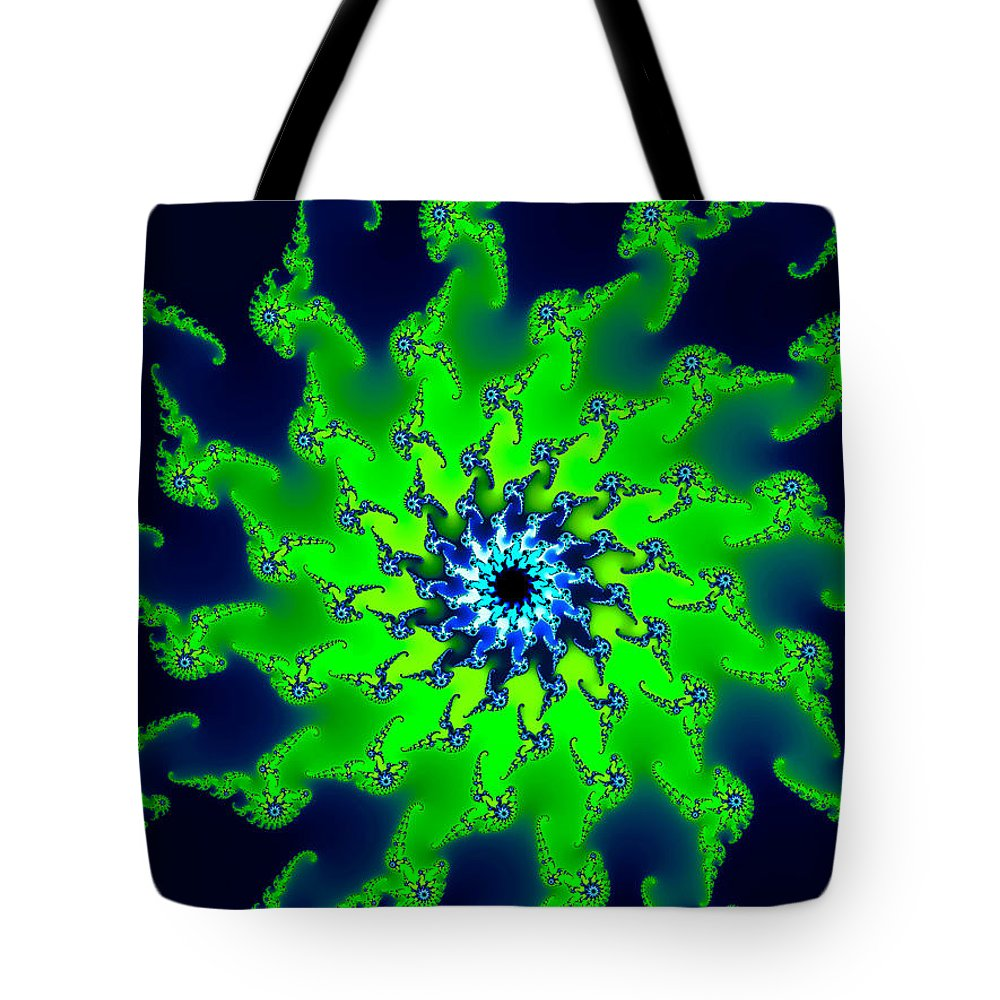 Green Tote Bag featuring the digital art Abstract Fractal Art Fresh Bright Green And Dark Blue by Matthias Hauser