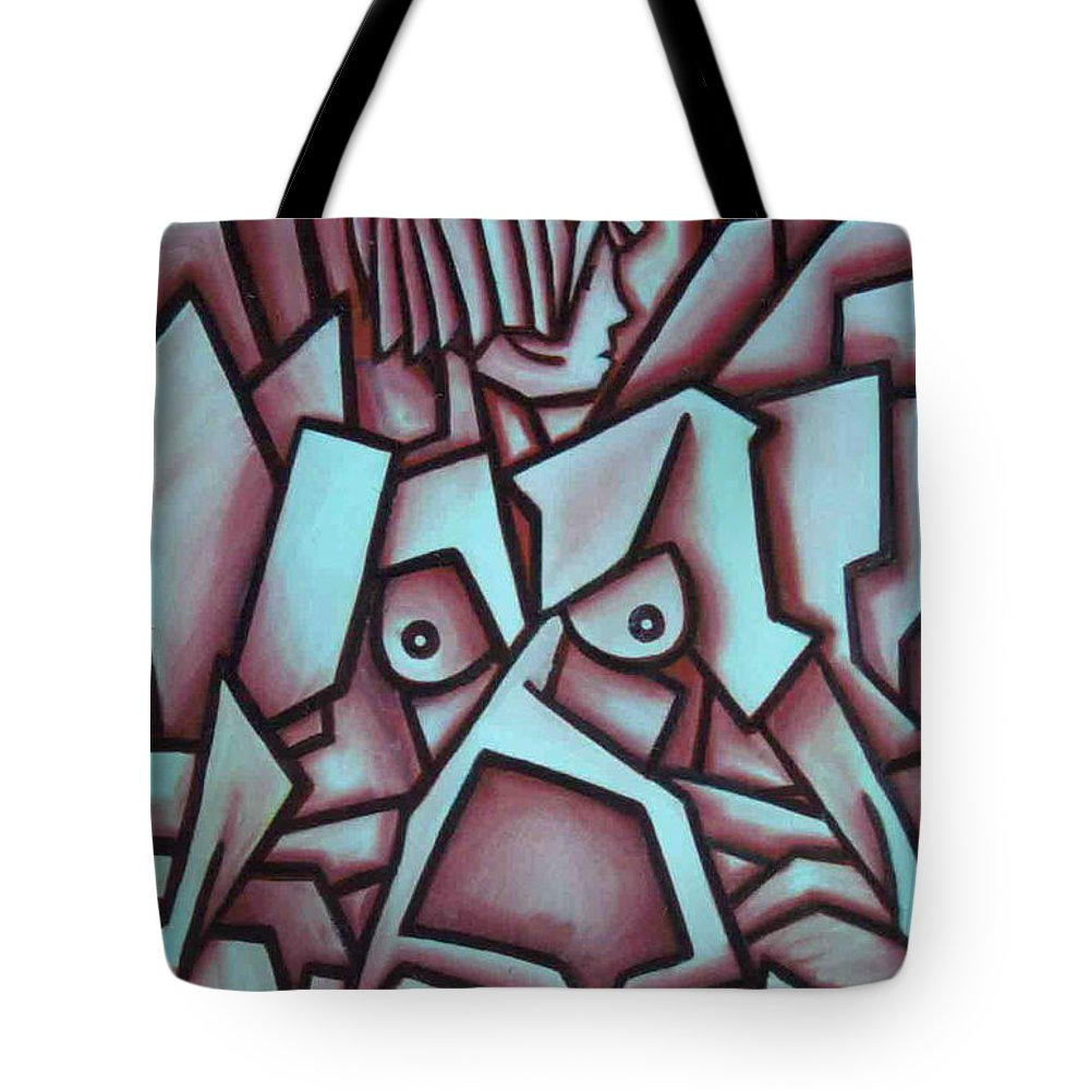 Abstact Tote Bag featuring the painting Abstract Girl by Thomas Valentine