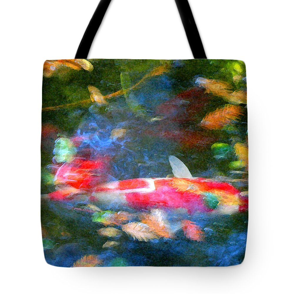 Animal Tote Bag featuring the painting Abstract Koi 1 by Amy Vangsgard