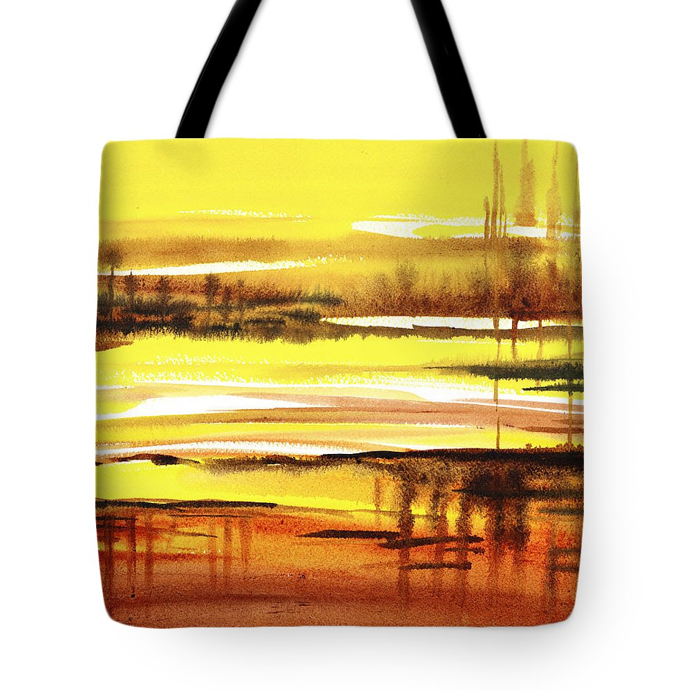 Abstract Tote Bag featuring the painting Abstract Landscape Reflections I by Irina Sztukowski